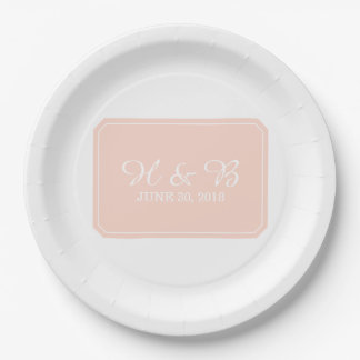 Coral Simply Elegant Wedding 9 Inch Paper Plate