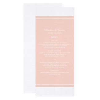 Coral Simply Elegant Wedding Menu Card