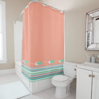 Coral Southwestern Feathers Shower Curtain