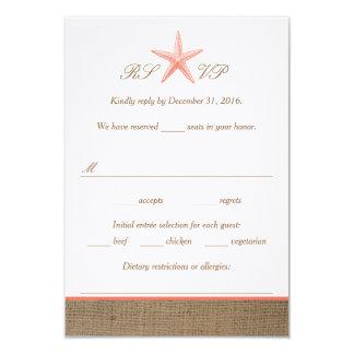 Coral Starfish Burlap Beach Wedding RSVP Cards 9 Cm X 13 Cm Invitation Card