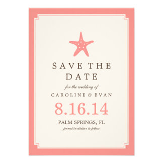 Coral Starfish Wedding Save the Date Card