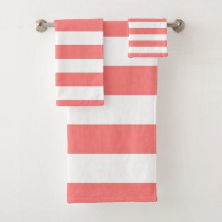 Coral Stripe Bath Towel Set