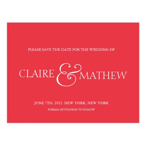 Coral striped -save the date postcards