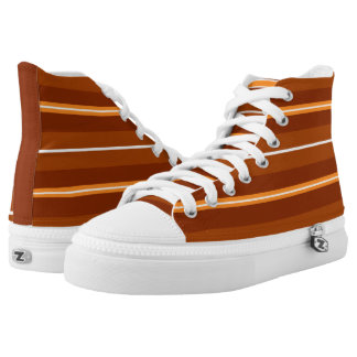 Coral Striped Zipz High Top Sneakers