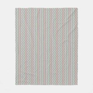 Coral Stripes Peach Cucumber Cream Gray Fleece Blanket