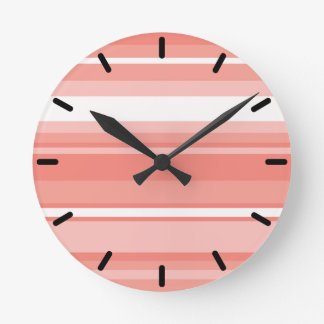 Coral stripes round clock