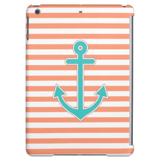 Coral Stripes Teal Anchor Nautical