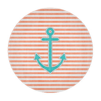 Coral Stripes Teal Anchor Nautical Cutting Boards