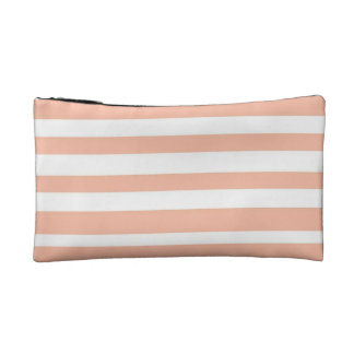 Coral Stripped Cosmetic Bag