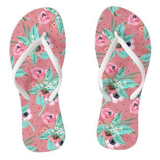 Coral Summer Flowers, Slim Straps Flip Flops