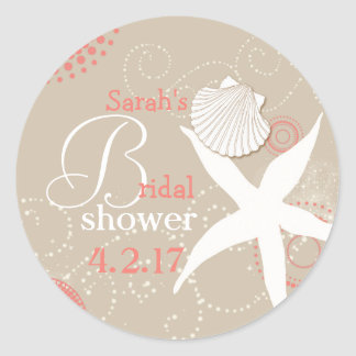 Coral Tan Beach Bridal Shower Round Sticker