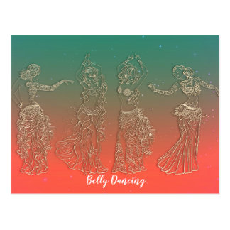 Coral Teal Belly Dancing Dancers Dance Lessons Postcard