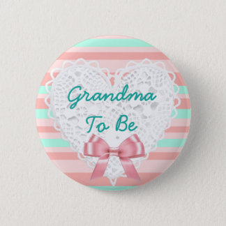 Coral & Teal Grandma to be Baby Shower Button