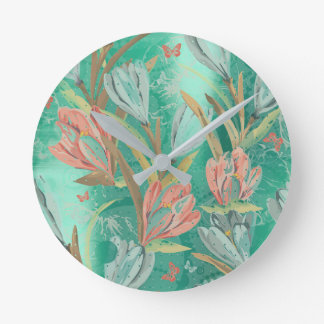 Coral Teal Green Floral Coffe Blue Ivory Butterfly Round Clock
