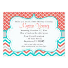 Coral Teal Quatrefoil Chevron Invitation