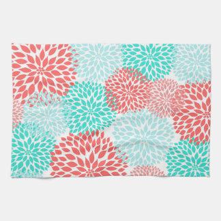 Coral Teal Seafoam dahlias kitchen decor Tea Towel