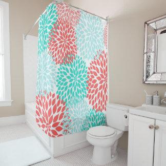 Coral Teal Seafoam Floral bathroom decor, Shower Curtain