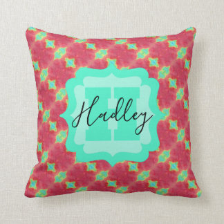 Coral/Teal Watercolor Pattern with Custom Text Cushion