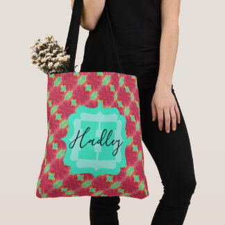 Coral/Teal Watercolor Pattern with Custom Text Tote Bag