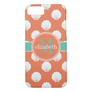 Coral Teal White Clamshells Seashells Monogram iPhone 8/7 Case