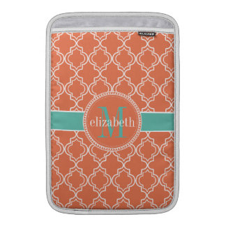 Coral Teal White Moroccan Quatrefoil Monogram Sleeves For MacBook Air