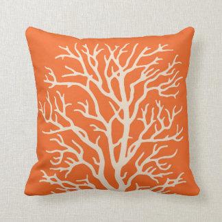 Coral Tree in Cream on Pumpkin Orange Throw Pillow