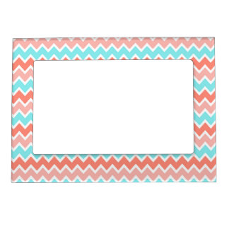 Coral Turquoise Blue Chevron Photo Frame Magnets