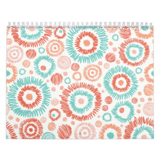 Coral & Turquoise Doodle ZigZag Circles Abstract Calendars