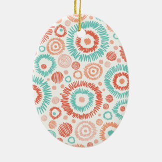 Coral & Turquoise Doodle ZigZag Circles Abstract Ceramic Oval Decoration