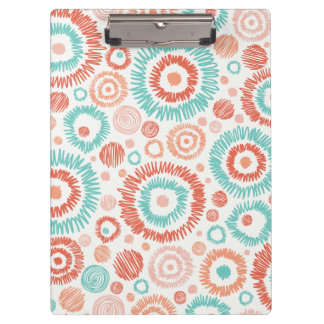 Coral & Turquoise Doodle ZigZag Circles Abstract Clipboard