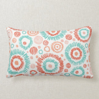 Coral & Turquoise Doodle ZigZag Circles Abstract Cushions