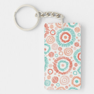 Coral & Turquoise Doodle ZigZag Circles Abstract Key Ring