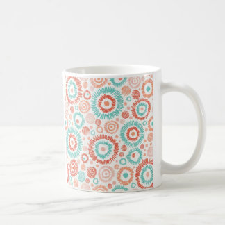 Coral & Turquoise Doodle ZigZag Circles Abstract Coffee Mugs