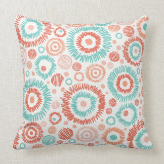 Coral & Turquoise Doodle ZigZag Circles Abstract Throw Cushion