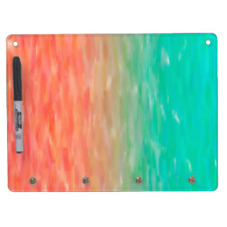 Coral & Turquoise Ombre Watercolor Teal Orange Dry Erase Board With Key Ring Holder