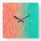 Coral & Turquoise Ombre Watercolor Teal Orange Square Wall Clock