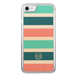 Coral, Turquoise & Teal Stripe Initial Monogram Carved iPhone 7 Case