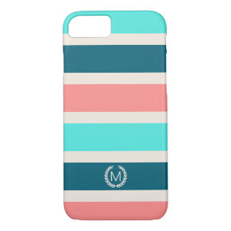 Coral, Turquoise & Teal Stripe Initial Monogram iPhone 7 Case