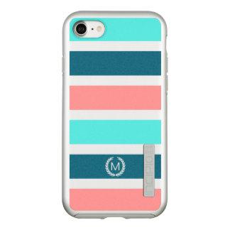 Coral, Turquoise & Teal Striped Monogram Incipio DualPro Shine iPhone 7 Case