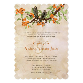 "Coral Vintage Love Birds Tea Stain Wedding Invites 5"" X 7"" Invitation Card"