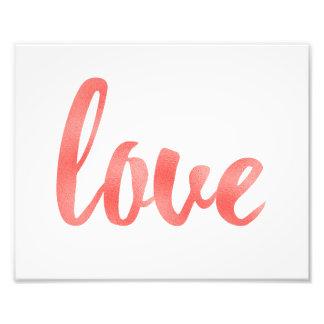 Coral wall art, love, foil photo print