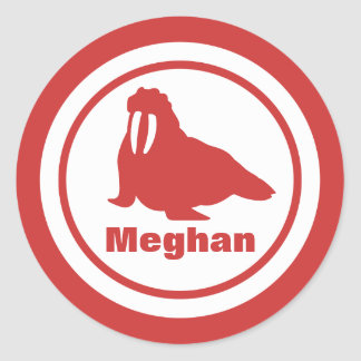 Coral Walrus with Name Round Sticker
