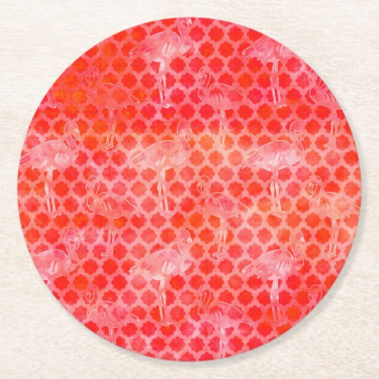 Coral Watercolor Flamingo Moroccan Round Paper Coaster