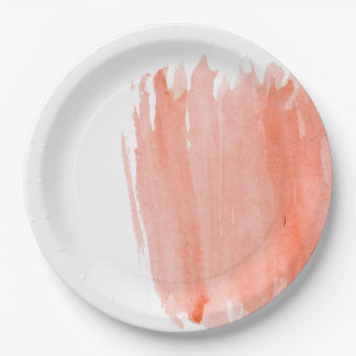 Coral Watercolor Paper Plates 9 Inch Paper Plate