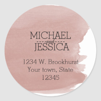 Coral Watercolor Personalized  name and address Classic Round Sticker