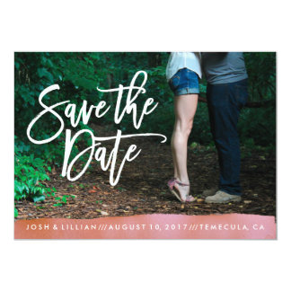 Coral Watercolor Save the Date photo card