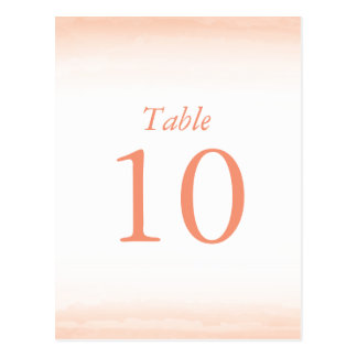 Coral Watercolor Table Numbers Postcard