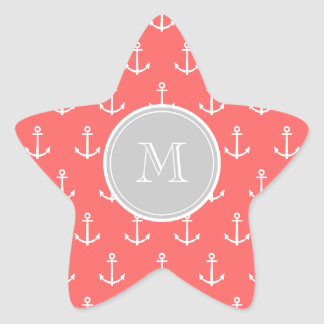 Coral White Anchors Pattern, Gary Monogram Star Sticker