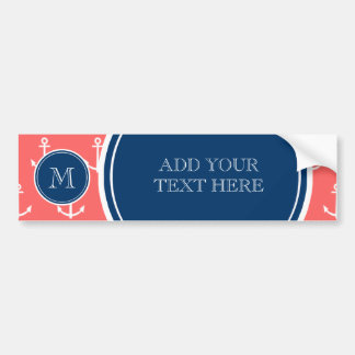 Coral White Anchors Pattern Navy Blue Monogram Bumper Stickers