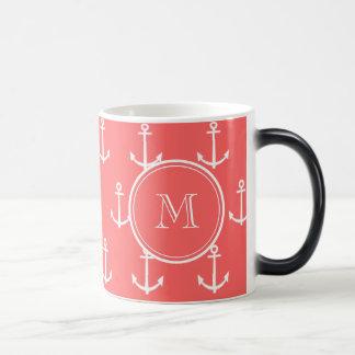 Coral White Anchors Pattern, Your Monogram Magic Mug